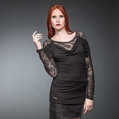 8ea9300ec2 Queen Of Darkness Black Long Sleeve Lace Top - Goth,Gothic,Dark,Alternative