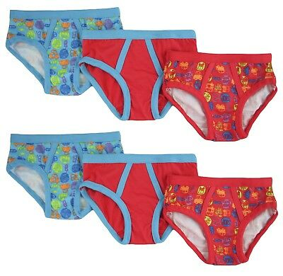 Bright Bots Boys Cotton Briefs Pants Undies (Blue Multi, 6 Pack) Choose Size