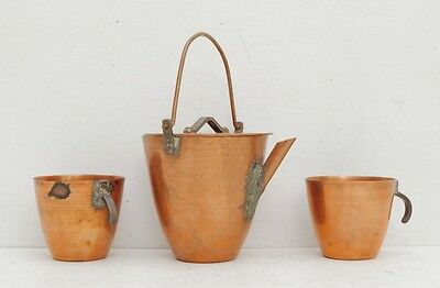 Antique Copper Tea Set Kettle Cups Japanese Witch Wicca Potion Swedish Coffee