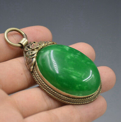 Tibet Silver Collection Mosaics Green jade Pendant