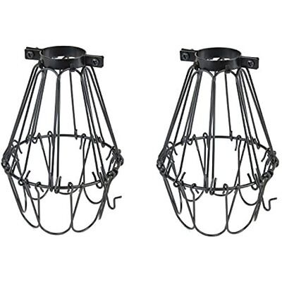 Set Of 2 Industrial Vintage Style Black Hanging Pendant Light Fixture Metal Wire
