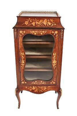 Rosewood Marquetry Inlaid Display Cabinet