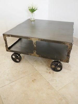 Square Industrial Coffee Table With 2 Wheels Vintage Art Deco Retro Furniture