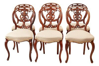 Quality Set of 6 Victorian Carved Walnut Chairs