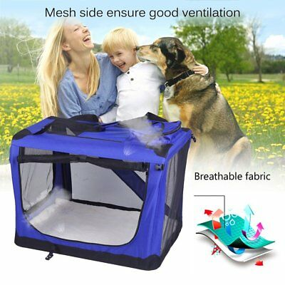 Portable Fabric Pet Cat Dog Cage Carrier Bag Puppy Crate Kennel Bed Blue M L XL