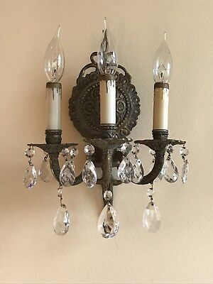 Vtg Pair Victorian Brass Electric Wall Sconce Triple Arm Light Fixture w/Crys