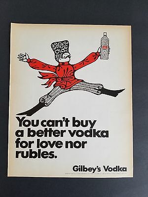 1967 - Gilbey's Vodka - Cant Buy Better For Love Nor Rubles - Vintage Print Ad