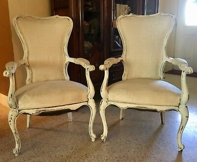 Set of 2 Cream & White Antique Shabby French Style Distressed Chairs