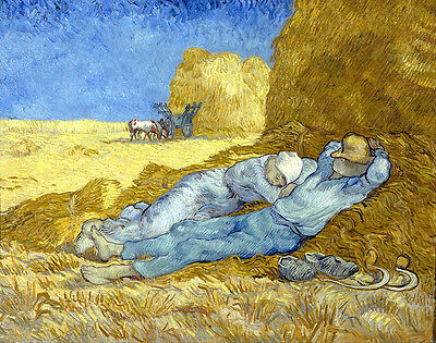 Vincent van Gogh Resting after Work Reproduction of painting 8X12 CANVAS PRINT