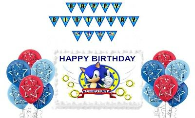 Sonic The Hedgehog Personalized Birthday Decoration Edible Cake Image