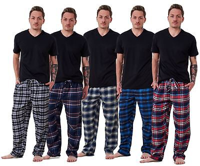 Mens Flannel Pyjama Bottoms Brushed Cotton Check Lounge Pants Nightwear M to 5XL