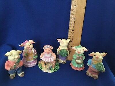 Happy Pigs Miniture Figurines Farm Countryside Lot of 6 ~ See Description