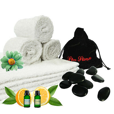 Sovereign Towel & Massage Stone Accessory Set With 2 Free Vials of Essential Oil