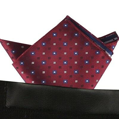 (T48) MenWithTie Red Men Formal Pocket Square Hankie Wedding Party Handkerchief