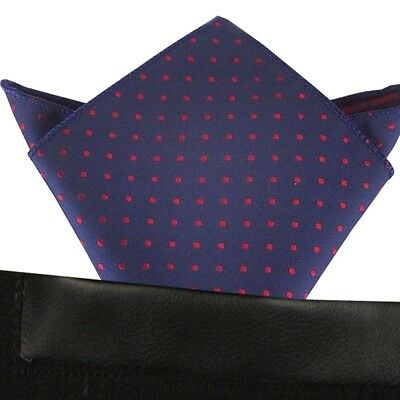 (T29)Blue with Red Polka Dot Men Pocket Square Hankie Wedding Party Handkerchief