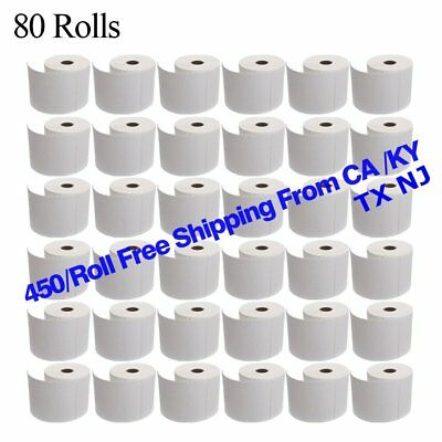 80 Rolls 4x6 Direct Thermal Shipping Labels - 450/roll - Zebra 2844 ZP450 Eltron