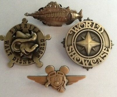 Disney Pins Bronze Colored 3D Mickey Sheriff, Wings,Nautilus & World Showcase