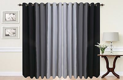 Eyelet curtains Ring Top Fully Lined Pair Ready made 3 Tone Black Grey Silver