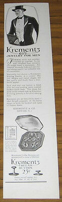 1927 Vintage Ad~Krementz Gift Jewelry For Men~Collar Buttons