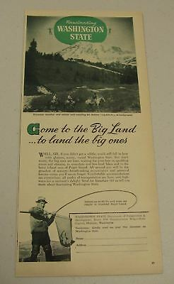 1947 Print Ad Washington State Dept of Conservation Horse Riders & Mt Rainier