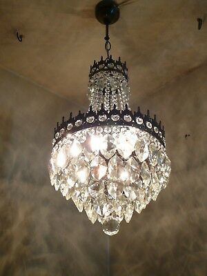 Vintage Brass and Crystal Old Basket Chandelier (30 cm. diameter)