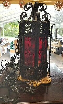 VTG Spanish Gothic Wrought Iron Hanging Chandelier Light Fixture Red Glass Goth