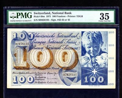 *1971 SWITSERLAND, NATIONAL BANK 100 FRANKEN PMG 35 PCK #49m PLEASE LQQK!*