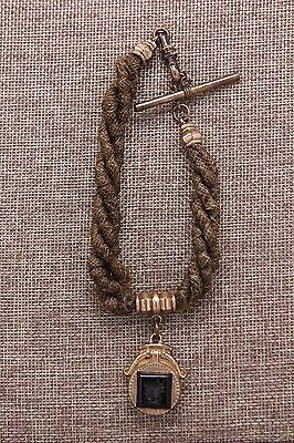 Antique Victorian Woven Hair Mourning Watch Chain Intaglio Glass Agate GF Fob