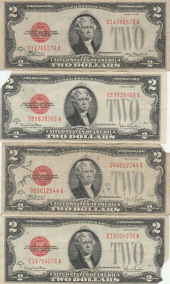 1928 $2 DOLLAR BILL RED SEAL. Lot of 4