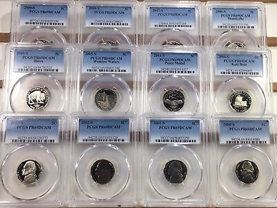 2000-S - 2009-S 12 COIN LOT Jefferson Nickel PCGS PR69DCAM  Deep Cameo PROOF