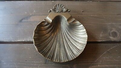 Antique Brass Ashtray Shell Shaped 5.75 x 4.75 inches