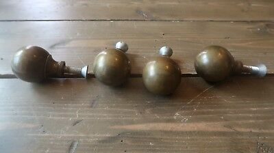 4 LARGE Antique Brass Drawer Pull Knobs BEAUTIFUL PATINA 2.25 x 1.75 inches