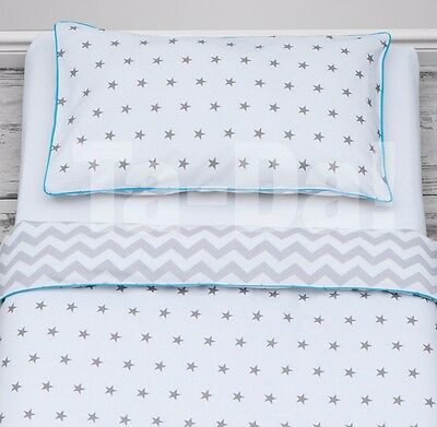 100% Cotton cot bed duvet cover set bedding grey stars and chevron