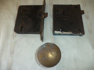 Antique Corbin Mortise Door Lock And Brass Door Knob Collectible