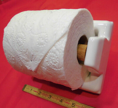 Vintage…White...Glossy...Ceramic...Toilet Paper Holder…NOS...with wood roller