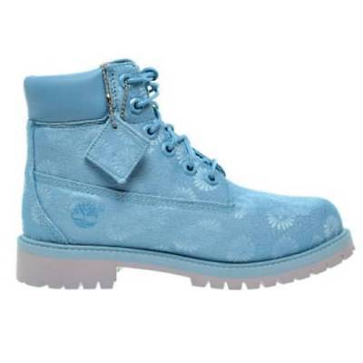 "Youth / Womens Timberland 6"" 6 Inch Premium Boots New Ice Blue Floral A174M $160"