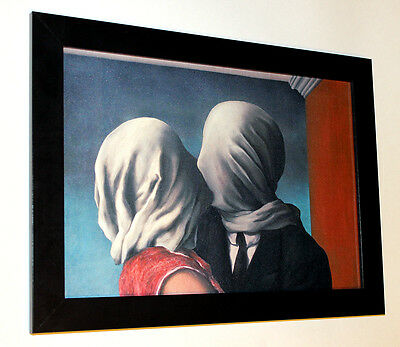 "Rene Magritte lovers framed giclee canvas print 10""X13.6"" poster reproduction"