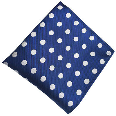 (FY05) Silk Blue with White Polka Dot Men Pocket Square Hanky Party Handkerchief