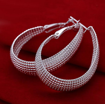 Womens 925 Sterling Silver Oval Shaped Vogue Mesh Band Hoop Earrings #E44