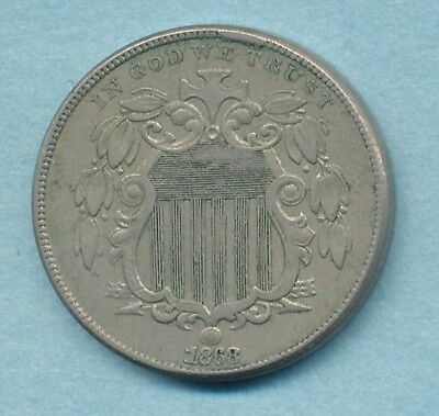 1868 Shield Nickel CUD  Extra Fine Free Ship