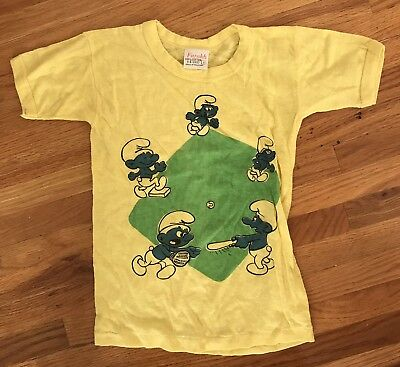 SMURF 80's Vintage Baseball Child Size T shirt Size 6 clothing 80's