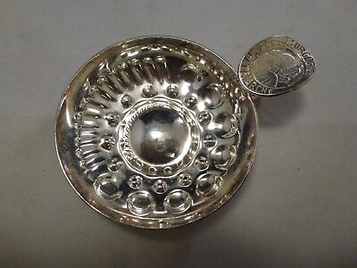 """Excellent Cond. Silver-Plated Wine Tastevin Tasting Cup 2 7/8"""" Bourgognes France"""
