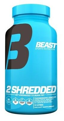 Beast Sports 2 Shredded 60 Veg Caps Thermogenic Fat Burner lean oxy xtreme shred
