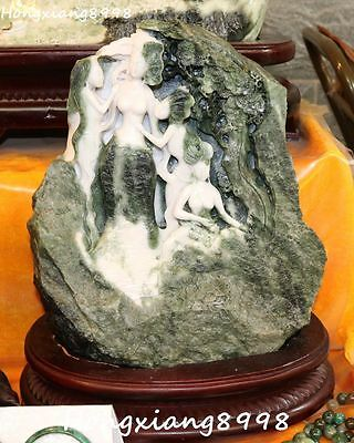 """16"""" Chinese Dushan Jade Carving 4 Naked Big Belle Girl Beauty Shanzi Hill Statue"""