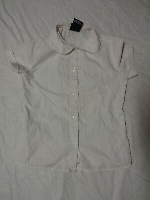 French Toast Girl's White Button Front School Uniform Short Sleeve Shirt Size 8