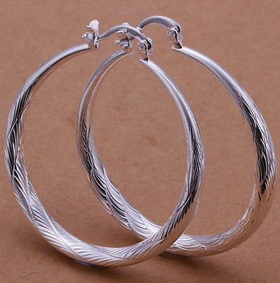 Womens 925 Sterling Silver Elegant Round Hoop Fashion Earrings #E56