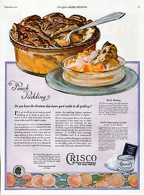 1921 Crisco Ad --For Frying, Shortening, Baking ---Peach Pudding!!--=479