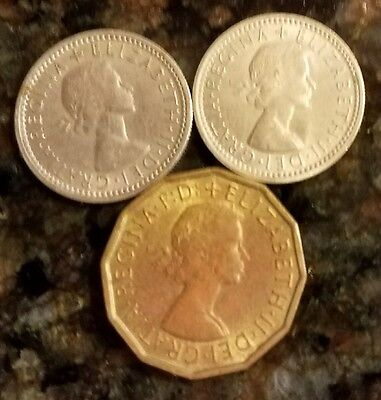 Great Britain 1962 LOT (2) 6 Six pence Copper-Nickel Coins (1) 3 three pence