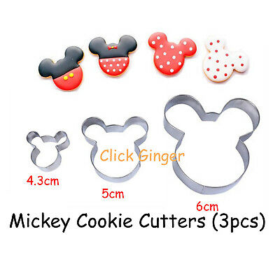 Mickey Minnie Mouse Cookie Cutter (3pcs) Cupcake Topper Fondant Cake Decorating