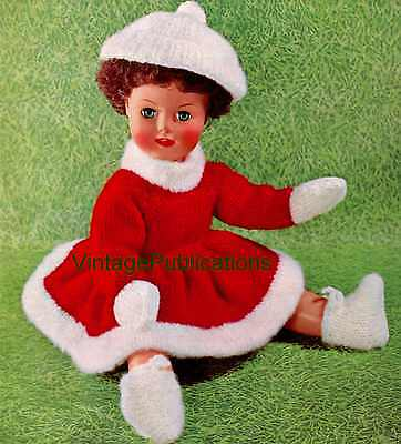 Doll's Dress Knitting Pattern . 18 inch Doll . Dress, Cap, Boots, Mitts . COPY